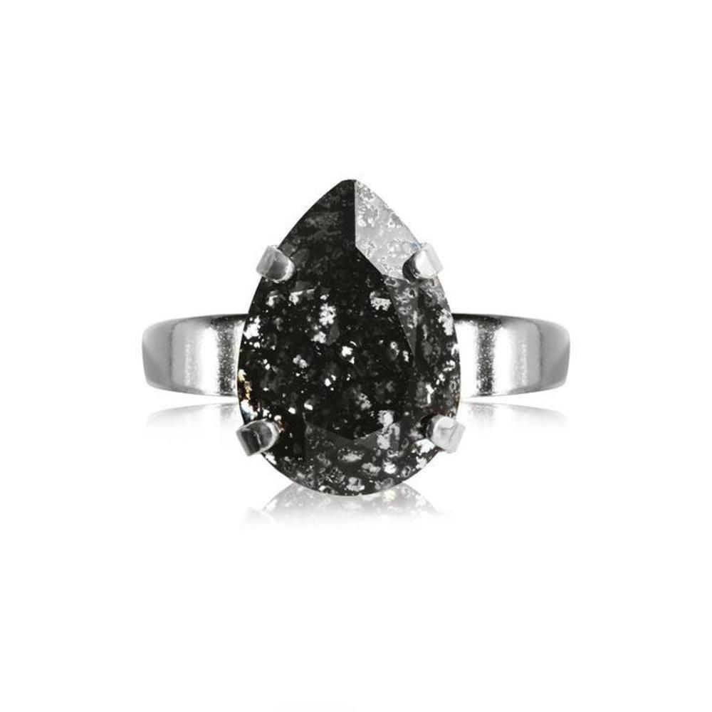 Caroline Svedbom Mini Drop Ring Black Patina silver