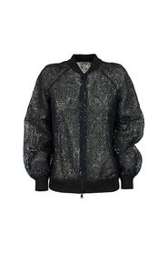 Dazzling Tropical Embroidery bomber jacket in Crispy silk