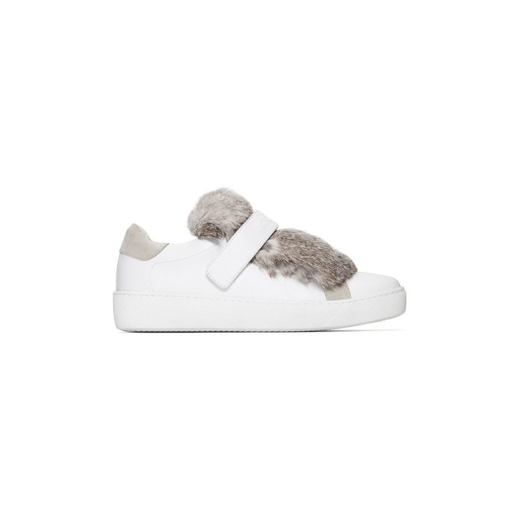 Lucie mink fur tongue leather sneakers