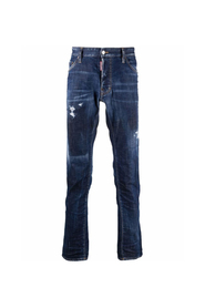 Ripped-Detail Straight-Leg Jeans