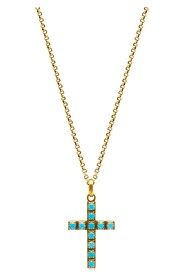 Men's Gold Necklace with Turquoise Cross Pendant
