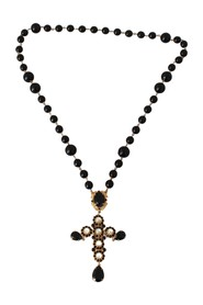 Brass Beads Crystal Cross Chain Necklace
