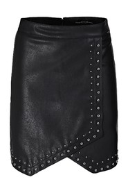 COATED-LOOK SKIRT WITH STUDS