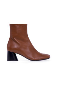 ankle boot in nappa leather bicolor with cone heel