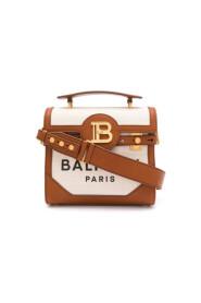 """Bolso """"B-Buzz 23"""" de lona en color crudo con paneles de cuero marrón"""