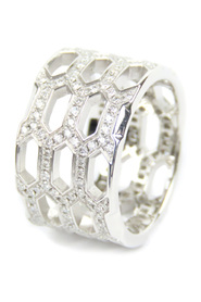 Serpenti Viper Diamond Ring Metal 18K White Gold Italy