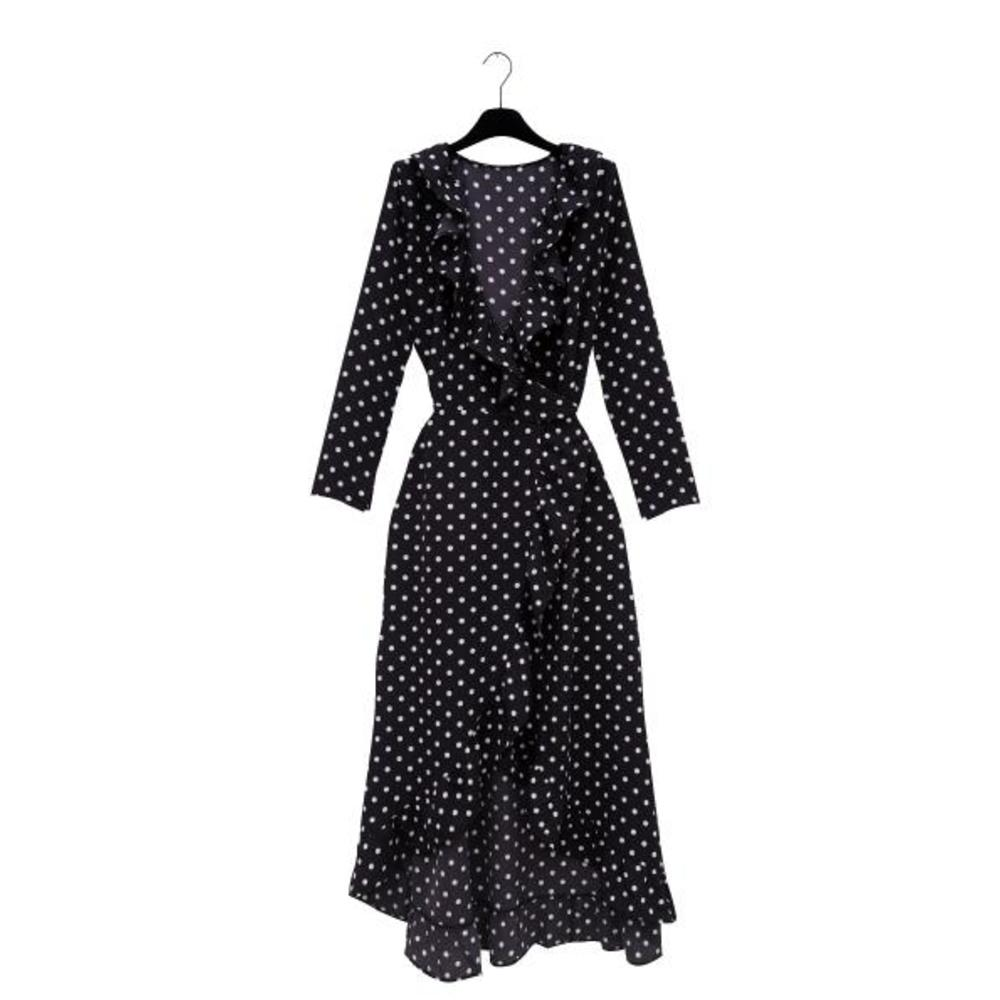 MALENE Black Polkadot Wrap Dress