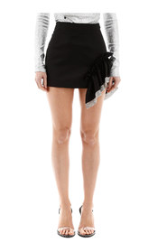 Mini skirt with ruffle and crystals