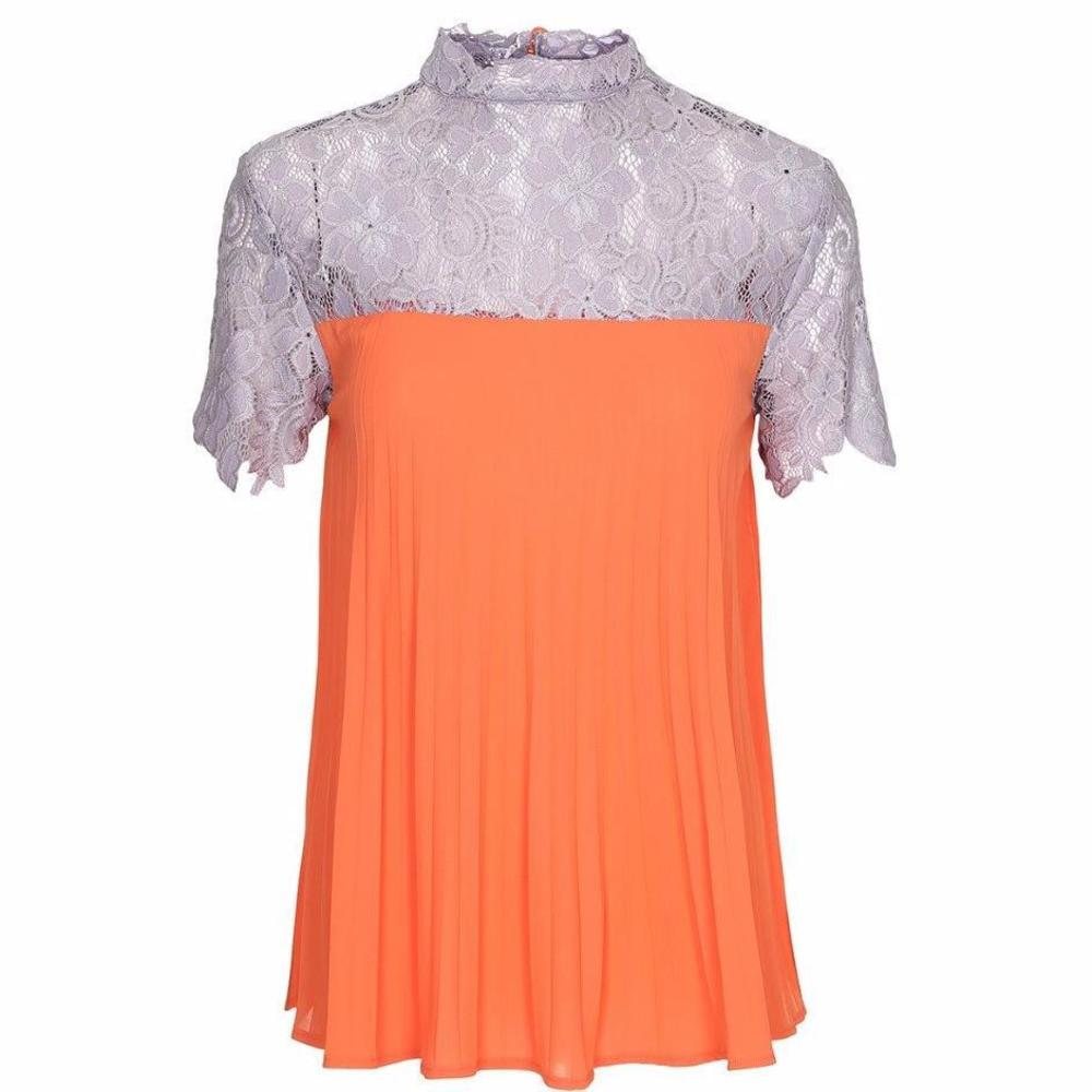 ALICE Pleated Chiffon Lace Top