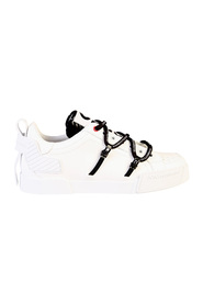 Logo print leather sneakers