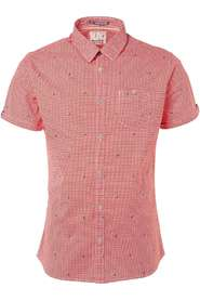 No Excess Shirt, s/sl, all over print, stretc red Overhemden Rood