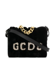 Faux fur and rhinestone logo bag