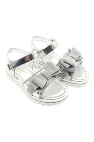 Girls Silver Nappa Sandals with Bow