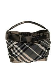 Pre-owned Leather And Beat Check Nylon Shoulder Bag