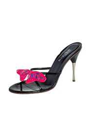 Patent Leather Butterfly Slide Sandals