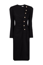 CREPE DRESS WITH CRYSTAL BUTTONS