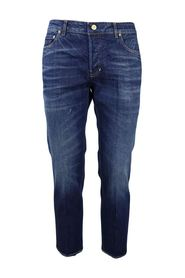 5-pocket striped denim jeans