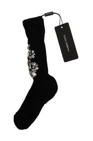 Knitted Floral Clear Crystal Socks