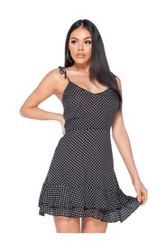 Polka Dot Tiered Hem Strappy Mini Dress