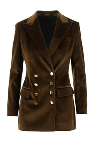 Double-breasted blazer Long sleeves Buttoned hems Two front welt pockets
