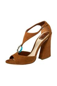 Pre-owned Suede Escale Block Heel T Strap Sandals