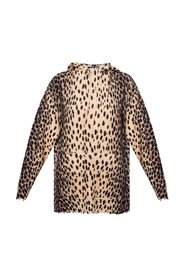 Hooded sweatshirt with leopard print