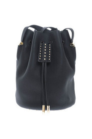 Leather bucket bag with metal studs