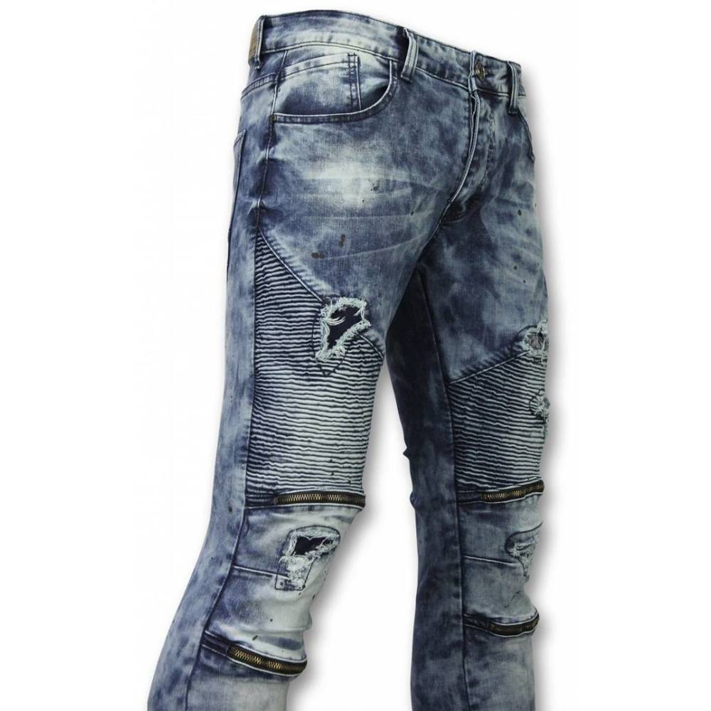 Slim Fit Ripped Jeans With Paint Drops