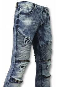 Slim Fit Ripped Jeans Med Paint Drops