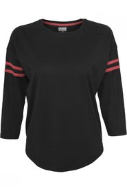 Ladies Sleeve Striped Longsleeve T-shirt | Sort / Rød