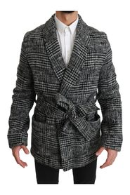 Checkered Robe Coat Wrap Jacket