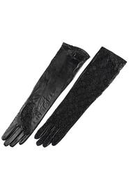 Long leather gloves with lace