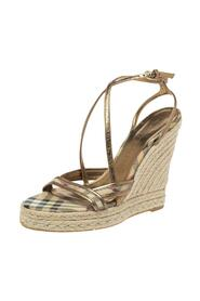 Pre-owned House Check PVC and Patent Leather Criss Cross Espadrille Sandals