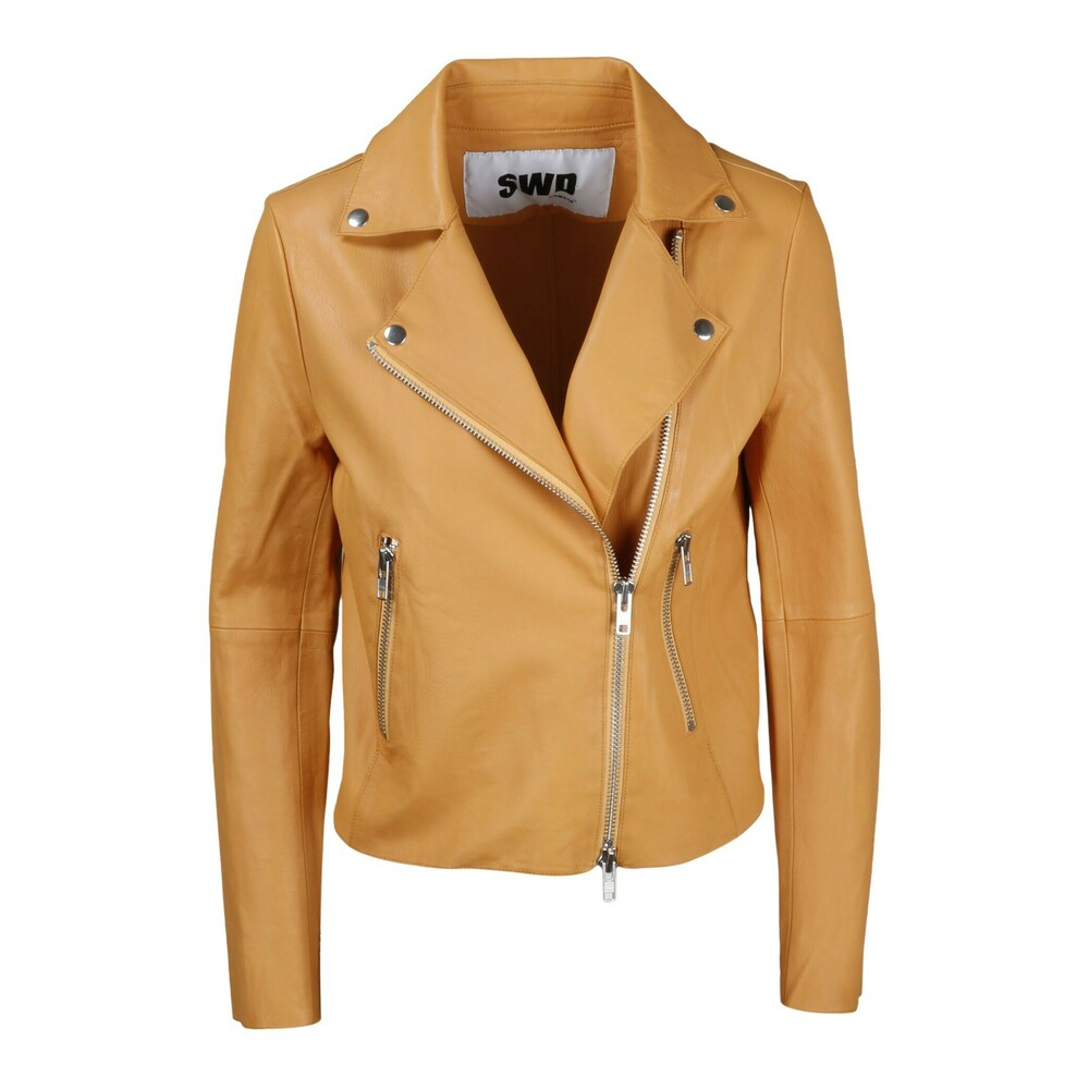 Beige LEATHER JACKET  S.W.O.R.D 6.6.44  Skinnjakker - Dameklær er billig