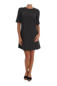 Polka Dotted Wool Stretch Kjole