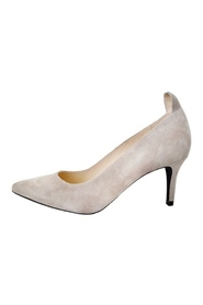 Nude Suede Pumps Front Society