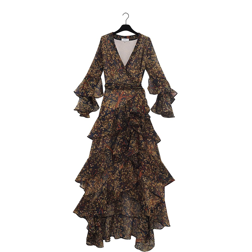 NARMIN Long Forrest Print Chiffon Dress