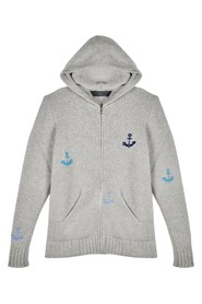 Embroidered Zip Cashmere Hoodie