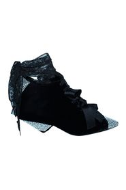 Velvet Lace Up Boots with Crystals