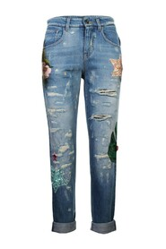Embellished Boy Friend Denim Jeans -Pre Owned Condition Very Good
