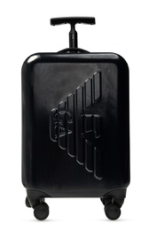 Suitcase with tactile logo