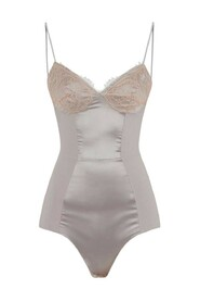 Bodysuit with lace and satin