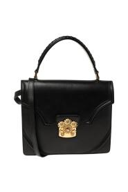 Black Leather Crystal Flower Clasp Top Handle Bag