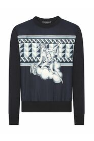 Round-neck silk sweater with printed panel