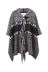 Intarsia Hooded Poncho in Graphic Knit Embellished with Fringes