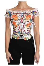 Majolica Cropped Corset Top Blouse