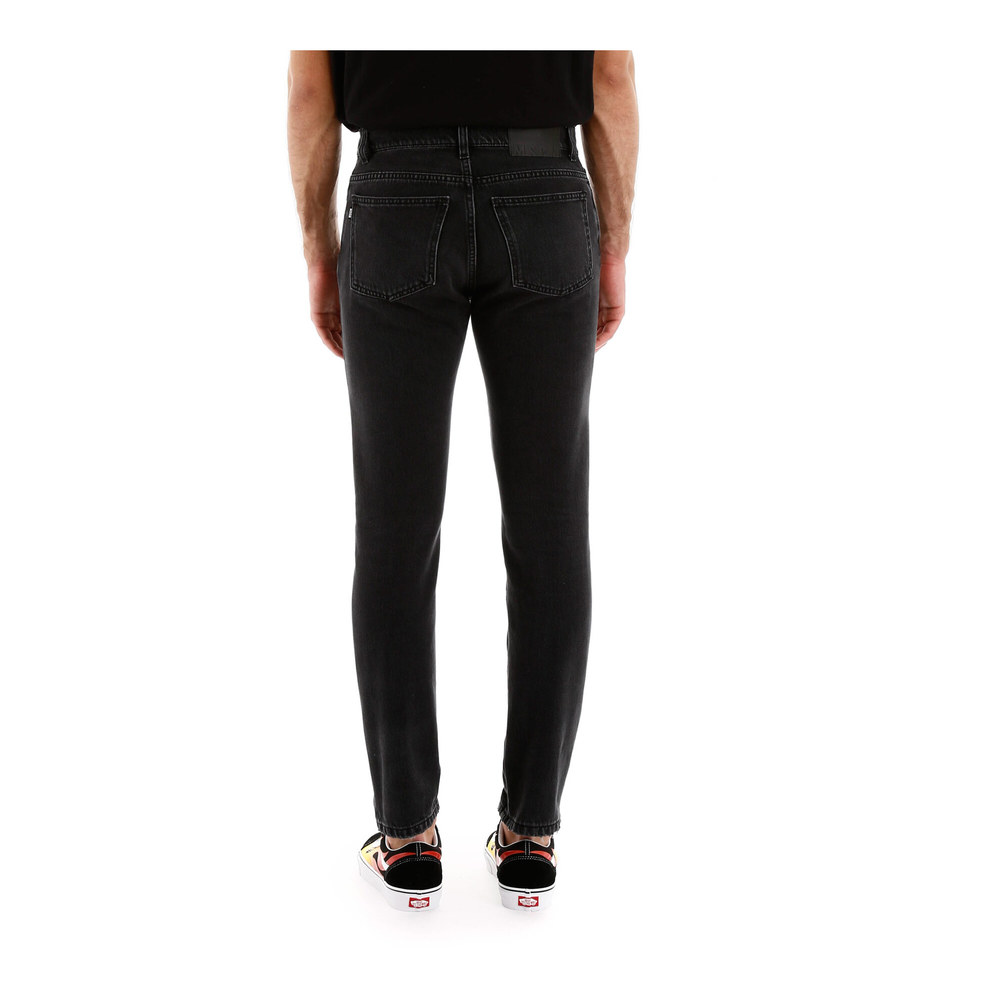 Black Distressed jeans with logo | MSGM | Jeansy slim fit