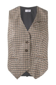 Check fitted waistcoat