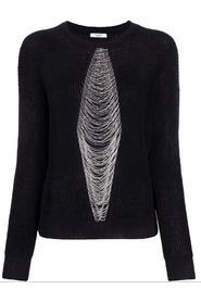 Bead-embellished cable knit jumper