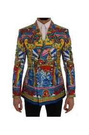 Dragon Print Silk Slim Fit Blazer Jacket